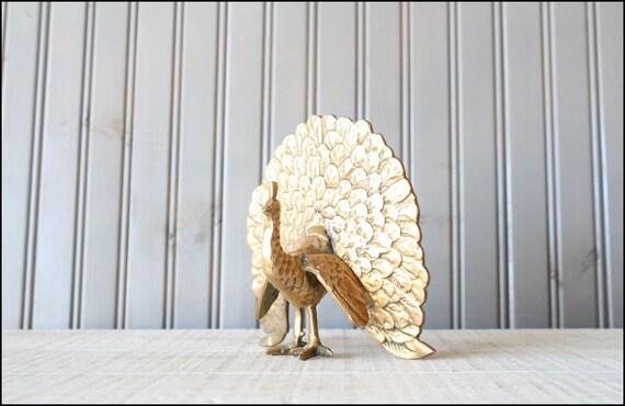 Large Brass Peacock // Solid Brass Doorstop