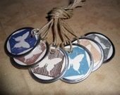 Gift Tags Label Tags Butterfly Woodgrain Round Circle Blue Brown Nature Handmade Hand Stamped