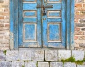 Package Deal --  Blue Door with Brick Wall Backdrop and Stone Road Floordrop -- Vinyl Photo Backdrops