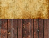 COMBO -- Two 5 x 5 Foot Vinyl Backdrops -- Grunge Gold Wallpaper and Brown Wood