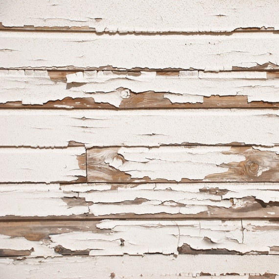 4 x 4 Foot Vinyl Photography Backdrop for Newborns, Babies and Children -- Faux Peeling White Wood