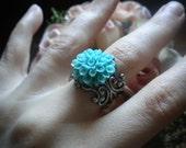 Turquoise Blue Dahlia Ring