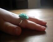 Kid's Turquoise Blue Dahlia Ring