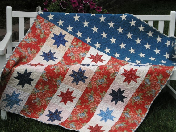Ready for Gift Giving-Moda's Flag of Valor pattern and fabric, red,wht & blue, patriotic and beautiful