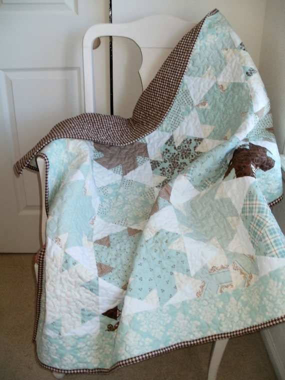 Aqua and Brown Hexagon Blocks,with Houndstooth fabric & Modas Lily and Will and Damask border