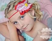 l o v e  c r u s h M2M Matilda Jane Serendipity Lace Ruffle Red Pink Aqua Skinny Headband  (Newborn-Adult) Photo Prop