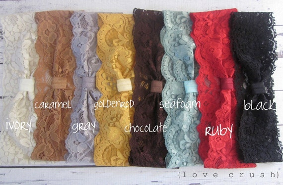 SET OF 4  vintage inspired wide stretch lace headbands head wraps NEW colors (newborn-adult)