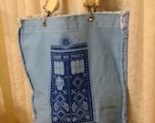 SALE Sugar Skull Police Box Wave Blue Raggedy Edge Tote bag