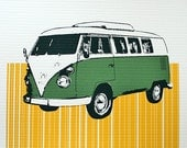 VW Bus Art Print (Green) - Hand Printed