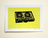 Record Turntable Art Print - Hand Printed - 5X7