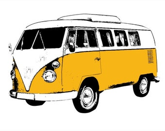 VW Bus Art Print Yellow- Retro Pop Art - Hand Printed 12x18