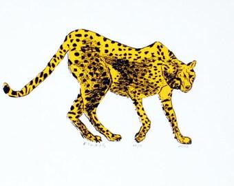 Cheetah Art Print - Hand Printed - 5X7