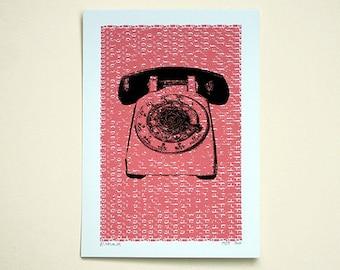 Telephone (Pink)  - Hand Printed Art Print - 5X7