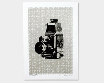Camera Art Print - Retro Industrial Silver - Hand Printed - 5X7