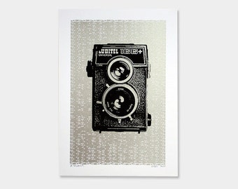 Vintage Camera Art Print Lubitel Screenprint 5x7