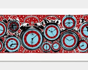Clocks Art Print - Pop Art Retro - Hand Printed