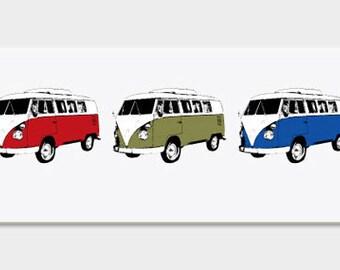 VW Vans Art Print - Pop Art Retro Red Green Blue - Hand Printed