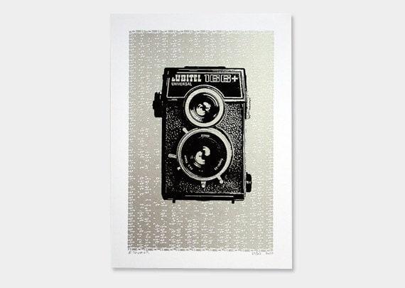 Vintage Camera Art Print Lubitel Screenprint 5x7