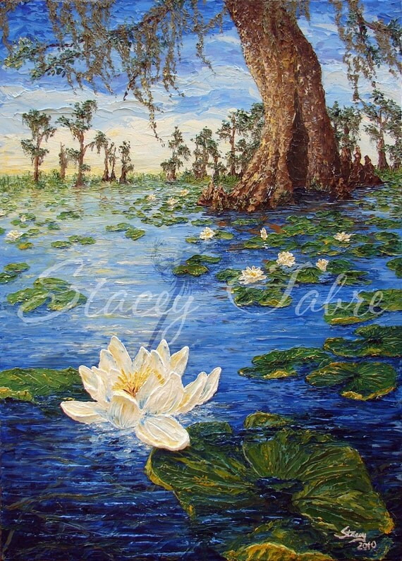 Swamp with Water Lillies - matted to fit 8x10 - PRINT