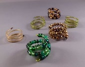 Adjustable Beaded Ring - Green and Gold Series