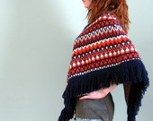 Reserved for Tenz80.......SALE....Vintage 60's Dark Blue and Orange Knit Poncho
