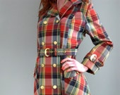 60's Plaid Swamp Trench Coat with Gold Buttons