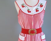 60s Red and White Striped Cotton Cherry Smock