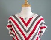 70s Magenta Grey and White Short Sleeve Knit Sweater