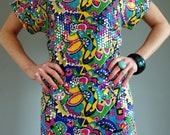 Rare 60's Colorful Shift Dress Covered with Sequins