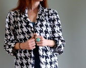 Vintage 70s Black and White Pixel Pattern Blazer