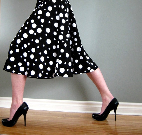 60's Black and White Polka Dot Dress with Matching Belt