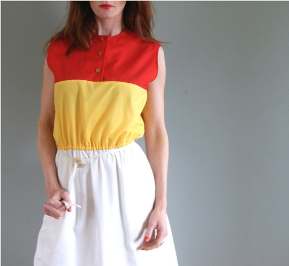 60s Red Yellow and White Nautical Cotton Day Dress with Rope Belt