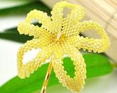 Plumeria bobby pin - lemon yellow beaded flower - Melemele