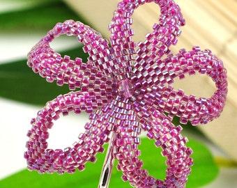 Handmade Plumeria flower - ab magenta lined crystal bobby pin - Forbidden