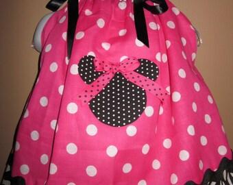 Custom Boutique Pillowcase Dress Bandana Pink White Polka Dots Black Zebra Print Mickey/Minnie Silhouette Dress 2T, 3T, 4T, 5, 6, 7