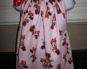 Boutique Pillowcase Pink Dress Disney Minnie 2T, 3T, 4T, 5, 6, 7