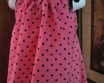 Custom Boutique Pillowcase Dress Pink Black Polka Dots