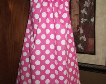 Custom Boutique Pillowcase Dress Minnie Pink White Polka Dots 2T, 3T, 4T, 5, 6, 7