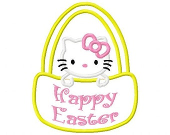 Easter Kitty Embroidery T shirt Sizes 2 4 6 8