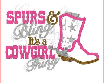 Spurs and Bling and Cowgirls Embroidery T shirt