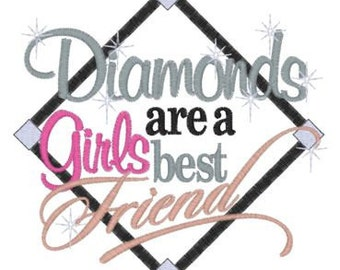 Diamonds Are A Girl's Best Friend Embroidery T shirt