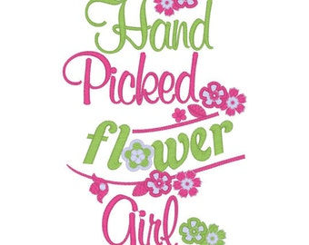 Flower Girl Tee Embroidery T shirt Sizes 2 4 6 8 10