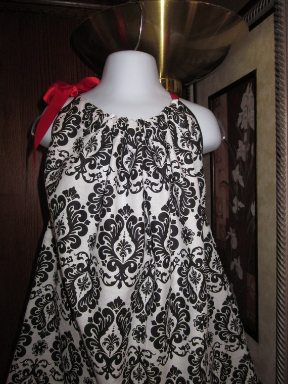 Custom Boutique Pillowcase Dress Black and White Damask 2T, 3T, 4T, 5, 6, 7