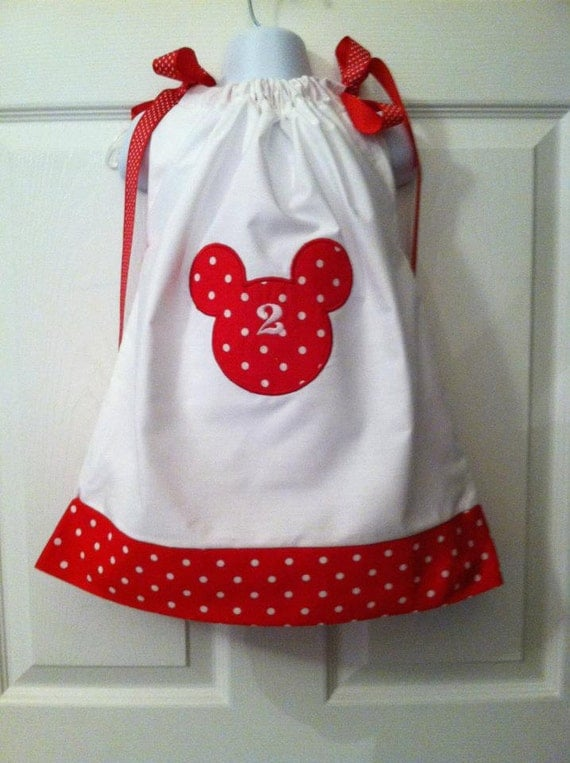 Boutique Pillowcase Dress Disney Minnie Mickey Mouse White with Red and White Polka Dots Birthday Number 12 mos,  2T, 3T, 4T, 5, 6, 7