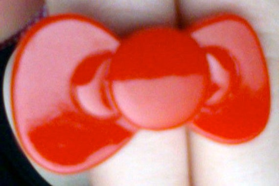 super kawaii bright red big bow adjustable ring (35 mm)