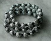 SILVER & BLACK Glitter Beaded Stretch Bracelets-Tri Set