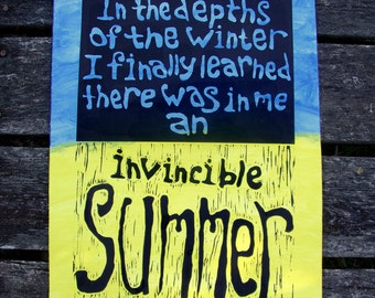 Linocut Hand Pulled Print Quote By Albert Camus Invincible Summer