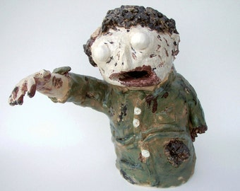Ceramic Sculpture Zombie Container Halloween Decoration