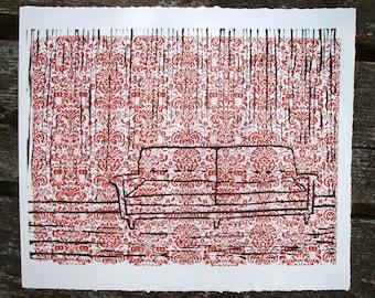 Burnt Orange Couch Hand Pulled Print Linocut Screen Print
