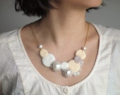 SALE 20% OFF Cream Brulee Color Polka Dot Circle felt wool Necklace ( Tailor-made color )